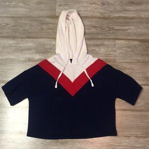 short-sleeved cropped hoodie